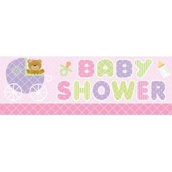 Teddy Baby Pink Giant Baby Shower Banner
