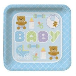 Teddy Baby Blue Party Plates