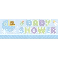Teddy Baby Blue Giant Baby Shower Banner