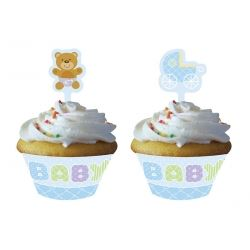 Teddy Baby Blue Party Cupcake Wrappers & Picks