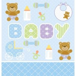 Teddy Baby Blue Party Tablecovers
