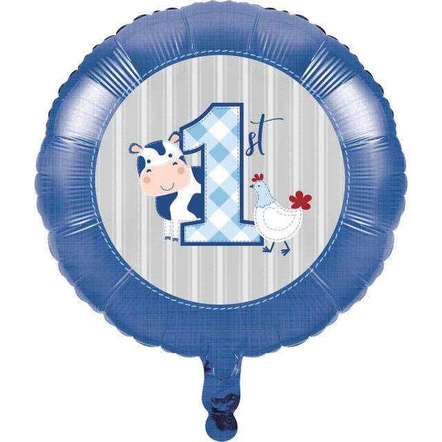 1st Birthday Farmhouse Blue Party Foil Balloon