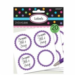 Candy Buffet Scalloped Labels New Purple