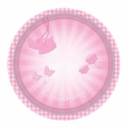Christening Pink Booties Party Plates