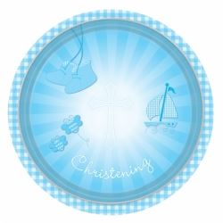 Christening Blue Booties Party Plates