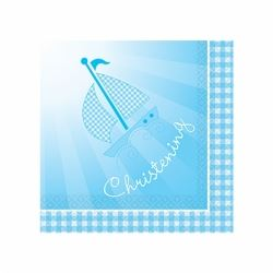 Christening Blue Booties Party Napkins