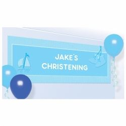 Christening Blue Booties Party Large Banner