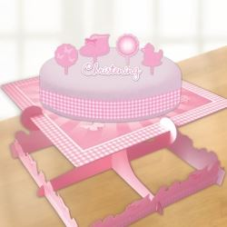 Christening Pink Booties Candle & Cake Decorating Kit