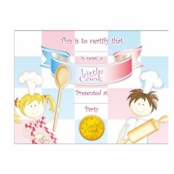Little Cooks Party Favour Certificates & Ribbon