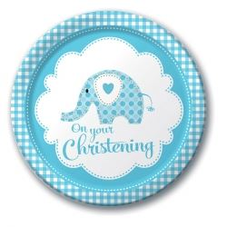 Sweet Baby Elephant Blue Christening Plates