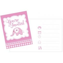 Sweet Baby Elephant Pink Christening Invitations