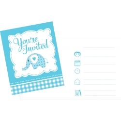 Sweet Baby Elephant Blue Christening Invitations