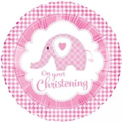 Sweet Baby Elephant Pink Christening Foil Balloons