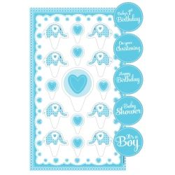 Sweet Baby Elephant Blue Christening Cake Topper Kit