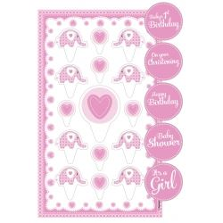 Sweet Baby Elephant Pink Christening Cake Topper Kit