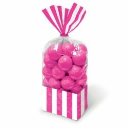 Candy Buffet Stripped Sweet Bags Bright Pink