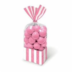 Candy Buffet Stripped Sweet Bags Light Pink