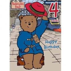 Paddington Bear Happy Birthday Card Age 4