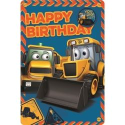 My 1st JCB Happy Birthday Cards With Badge