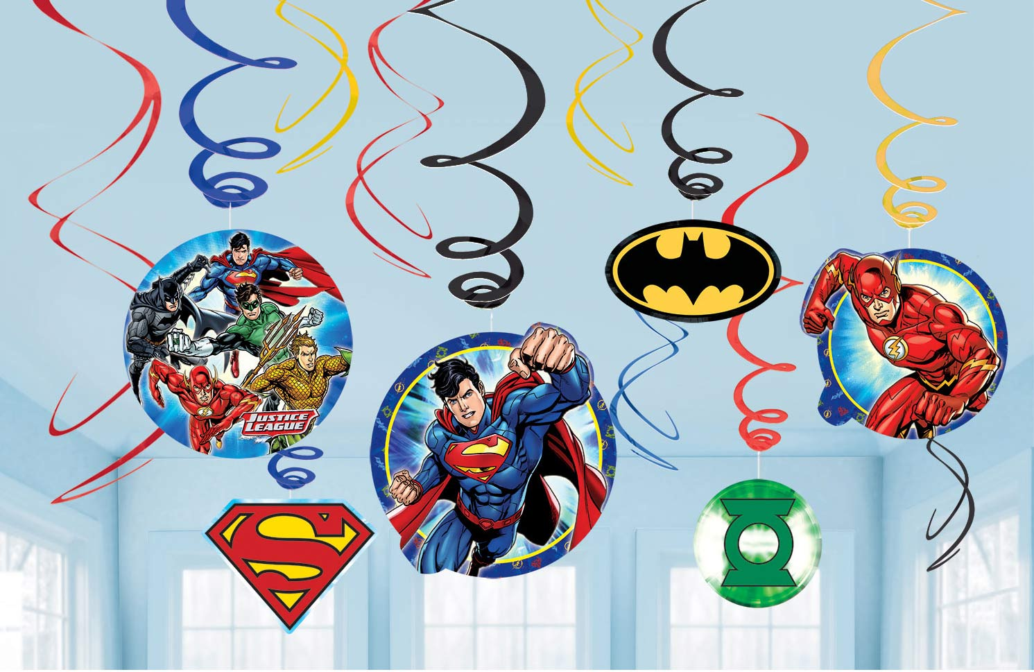 Justice League Party Hanging Swirls