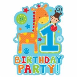 One Wild Boy 1st Birthday Party Invitations
