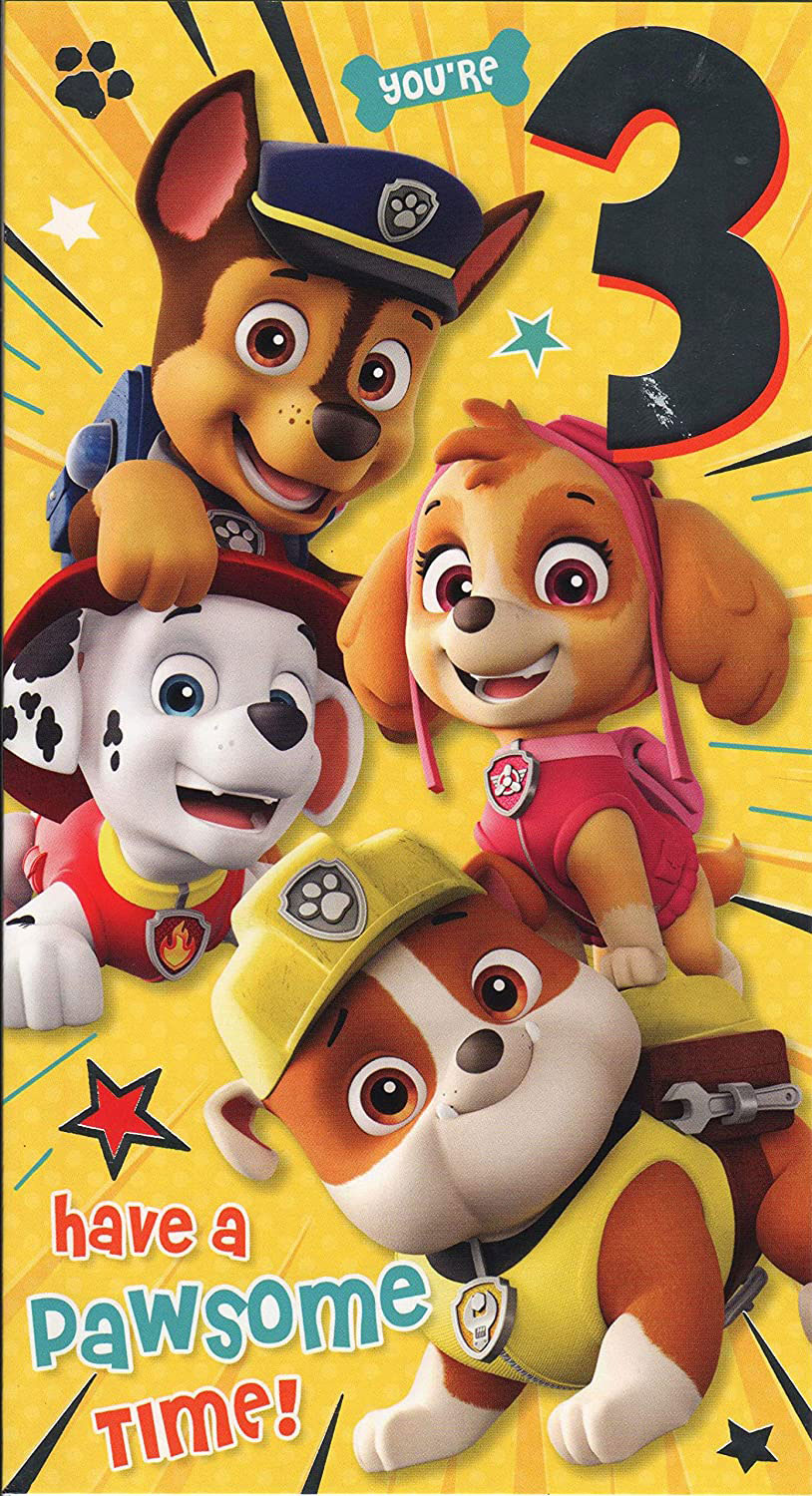 Paw Patrol Birthday Card Age 3