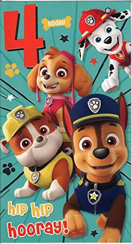 Paw Patrol Birthday Card Age 4