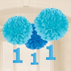 1st Birthday Boy Blue Fluffy Party Decorations