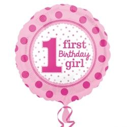 1st Birthday Girl Spotted Foil Balloon
