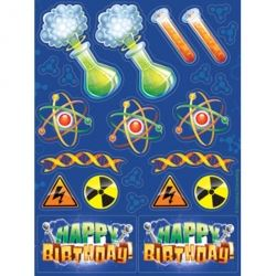 Mad Scientist Big Bang Theory Party Favour Stickers