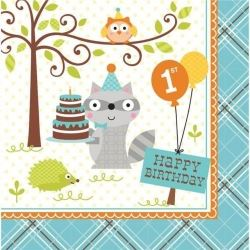 Happi Woodland Animal Boy 1st Birthday Party Napkins