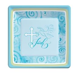 Faithful Dove Christening Boy Party Plates