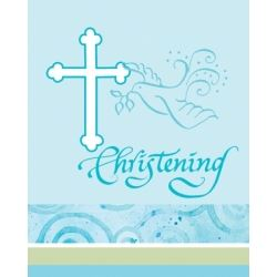 Faithful Dove Christening Boy Invitations