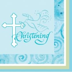 Faithful Dove Christening Boy Party Napkins