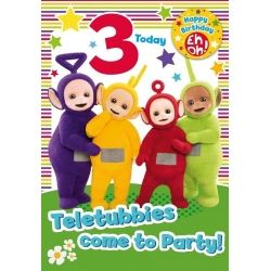 Teletubbies Birthday Card Age 3 With Badge