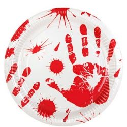 Bloody Hands Halloween Party Plates