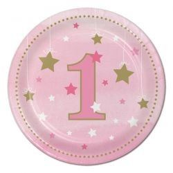One Little Star Pink Lunch Party Plates