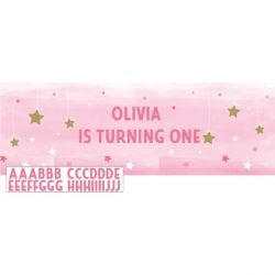 One Little Star Pink Giant Personalised  Banner