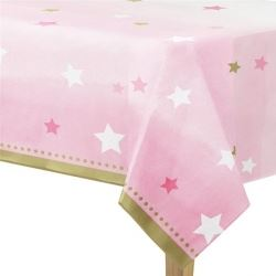 One Little Star Pink Party Tablecovers