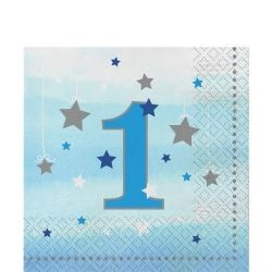 One Little Star Blue First Birthday Party Napkins