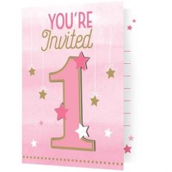 One Little Star Pink Party Invitations