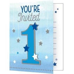 One Little Star Blue Party Invitations
