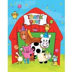 Barnyard Bash Party Thank You Cards