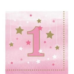 One Little Star Pink Party 1st Birthday Napkins