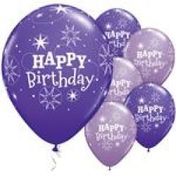 Purple Happy Birthday Sparkle Balloons