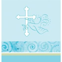 Faithful Dove Christening Boy Party Tablecover
