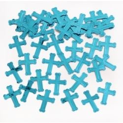 Faithful Dove Blue Crosses Table Confetti
