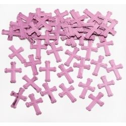 Faithful Dove Pink Crosses Table Confetti