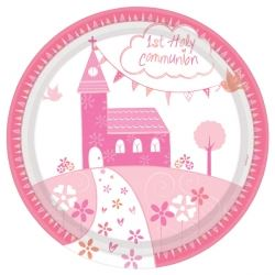 Communion Church Pink Party Plates