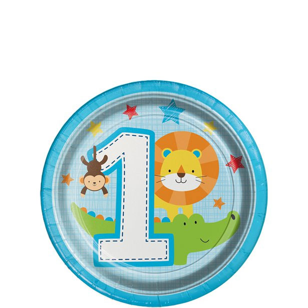 One Is Fun Jungle Boy Party Plates